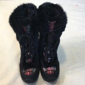 Coach plaid fur trimmed boots, 7